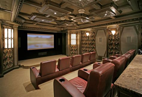 baroque recliner covers in home theater traditional with