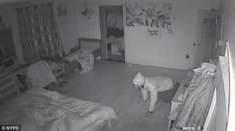 Bedroom Cams by Shows Burglar Crawling Into Bedroom Where Family
