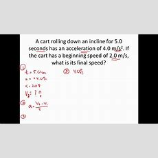 1d Kinematic Motion Practice  Acceleration Example Problem Youtube