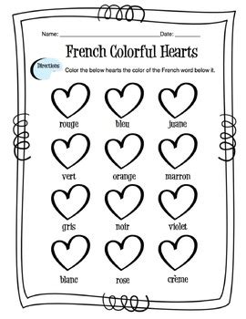 French Colors Worksheet by Sunny Side Up Resources | TpT