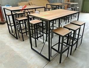 Table Haute En Bois : table cuisine style industriel table bar style industriel ~ Dailycaller-alerts.com Idées de Décoration