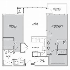 Two, Bedroom, Two, Bath, Apartment, Floor, Plans