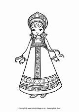 Russian Coloring Dolls Nesting Russia Colouring Printable Getcolorings sketch template