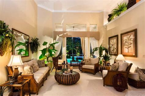 Tropical Living Room With Crown Molding High Ceiling In