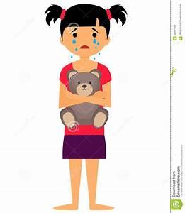Sad little girl crying stock vector. Image of girl ...