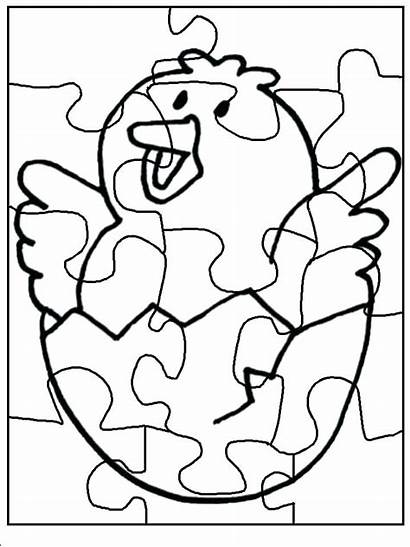 Puzzle Coloring Pages Piece Chick Funnycrafts Donut