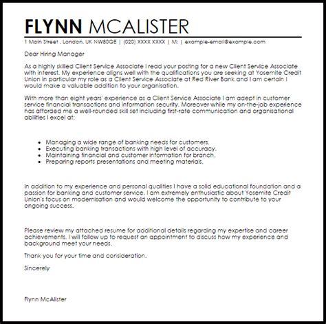 client service associate cover letter sle livecareer
