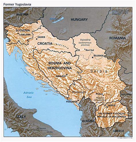 political map  yugoslavia  relief  yugoslavia