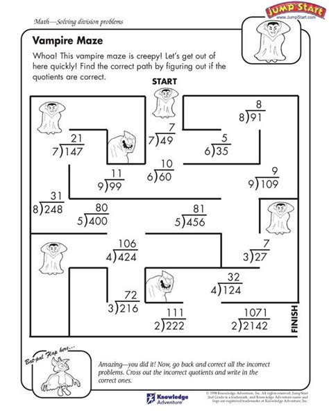 fourth grade math worksheet division maze 4th grade math worksheet for division