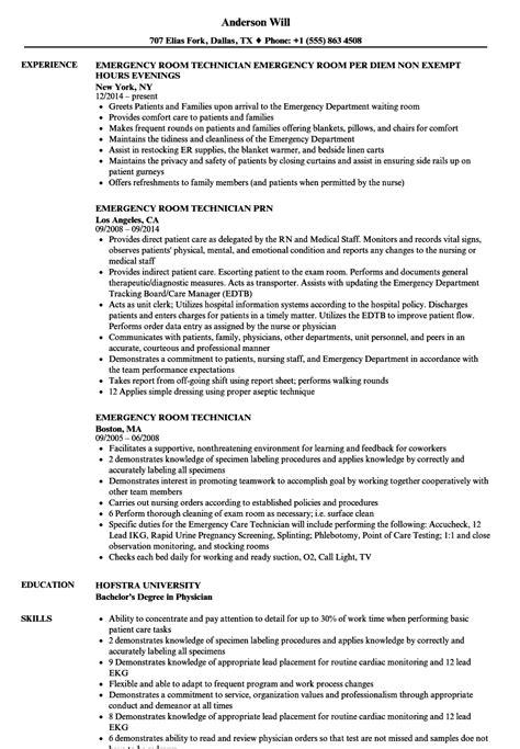 emergency room technician resume sles velvet