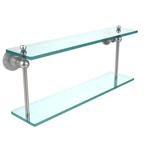 allied brass astor place 22 in l 8 in h 5 in w 2 tier clear glass bathroom shelf in satin