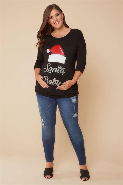 Bump It Up Schwarzes Santa Baby Weihnachts Oberteil Plus Size 44 Bis 60
