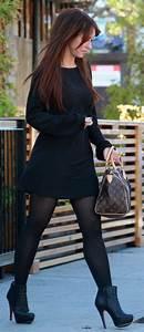 Jennifer Love Hewitt black dress brown LV bag black Louboutin booties tights u2611ufe0f   Trendy ...