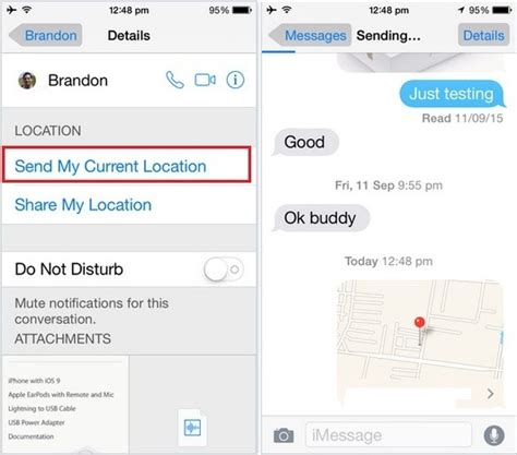 send my location iphone send location in imessage on iphone 6s 6s plus ios 9