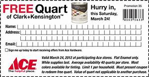 free quart of paint at ace hardware each saturday in march With homemakers furniture coupons