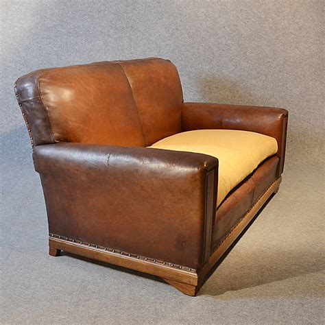 Settee Leather by Sofa Vintage Leather Antique 2 Seater Club Settee