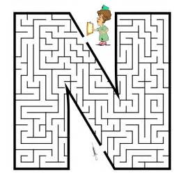 Printable Maze Letter N Coloring Pages