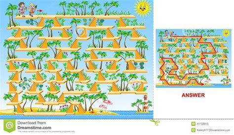 römer max way plus enfants allant au jeu de labyrinthe de plage dure pour des enfants illustration de vecteur