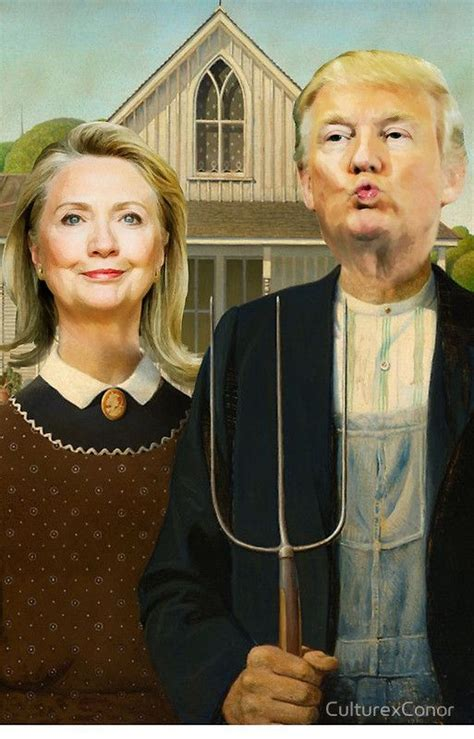 gothic american parody painting grant wood parodies donald famous trump clinton funny paintings iphone artworks portrait history hillary case artists