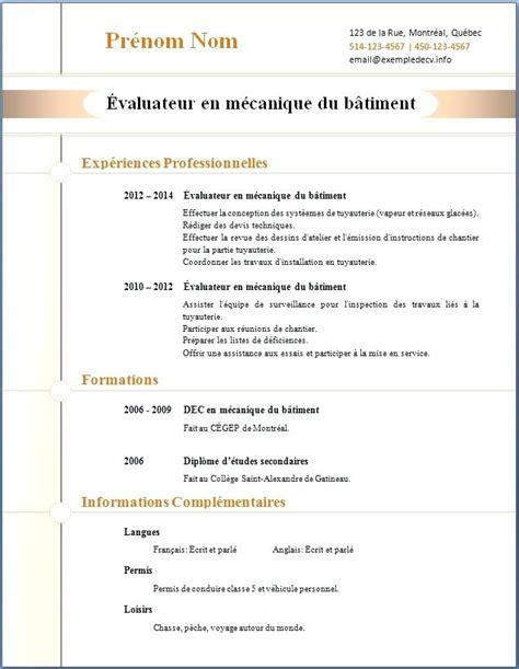 Word Modele by Des Exemples De Cv Word Exemple De Pr 233 Sentation Cv