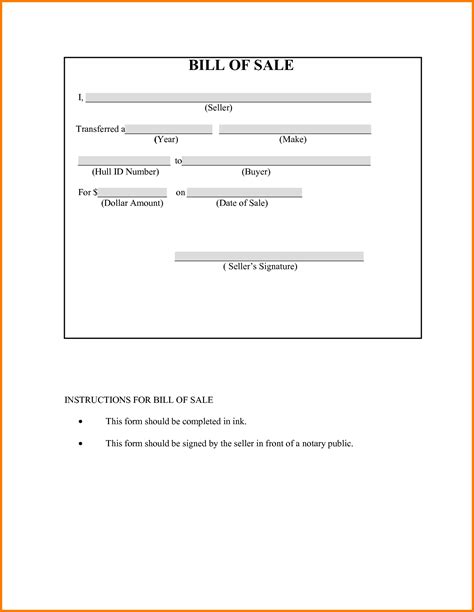 Blank Bill Of Sale For Boat And Trailer by Bill Of Sale For Boat Template