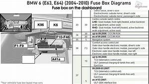 Bmw 6-series  E63  E64   2004-2010  Fuse Box Diagrams