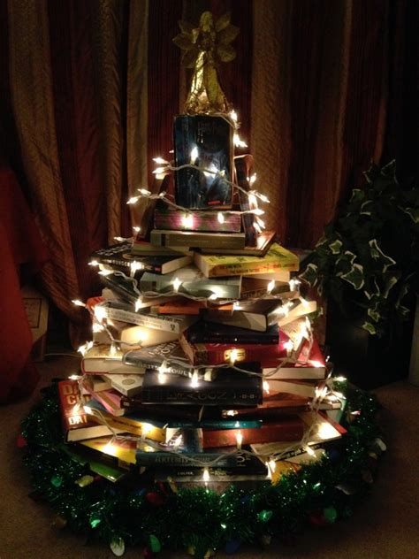 how to make a christmas tree out of your favorite books