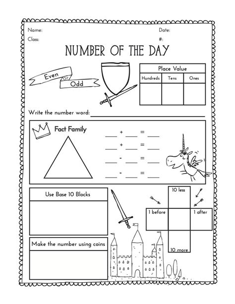 second grade number of the day worksheet number of the