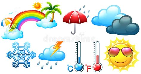 Different Icons For Weather And Climate Stock Vector