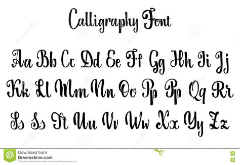 vector alphabet calligraphic font unique custom