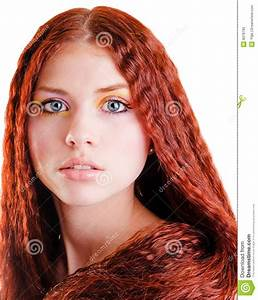 Pretty Girl With Red Hair Stock Image Image Of Isolated