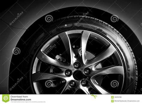 Closeup Of Aluminium Rim Of Luxury Car Wheel Stock Photo
