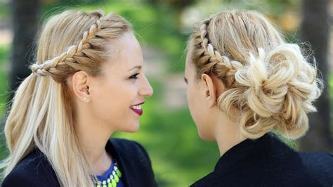 Braided Updo Hairstyle + Party Half Up Half Down For