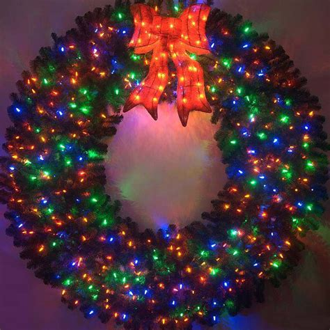 6 foot color changing l e d prelit christmas wreath