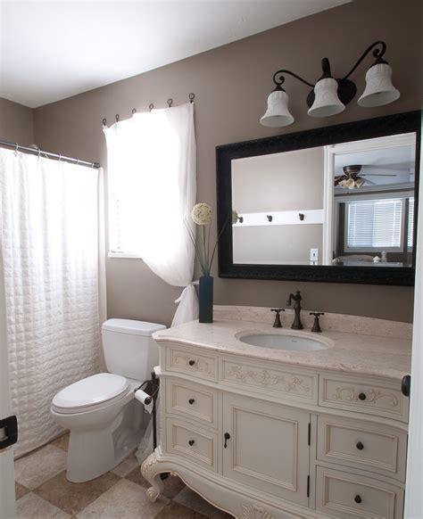 Bathroom Redo!!!  Start At Home Decor. Rebath San Antonio. Gray Cabinets. Sun Tube. Cottage Living Room. Porch Fireplace. Home Office Decor. Farmhouse Dining Room Lighting. No Grout Tile