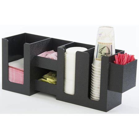 Has been added to your cart. Coffee Station Cup and Lid Organizer, 6 Compartments for Napkins, Stirrers (Black ABS Plastic ...