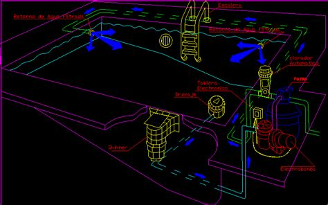 swimming details isometric dwg detail  autocad