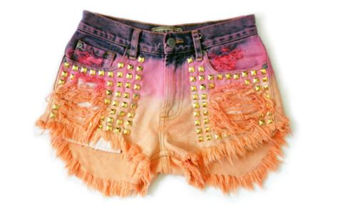 Clothes Colourful Dip Dye Hipster Shorts Image