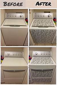 new look for washer dryer so easy with contact paper With best brand of paint for kitchen cabinets with vinyl sticker printer