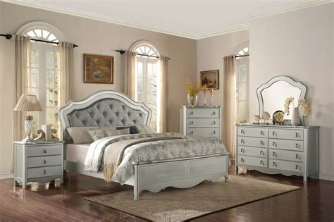 piece homelegance toulouse silver finish panel bedroom set