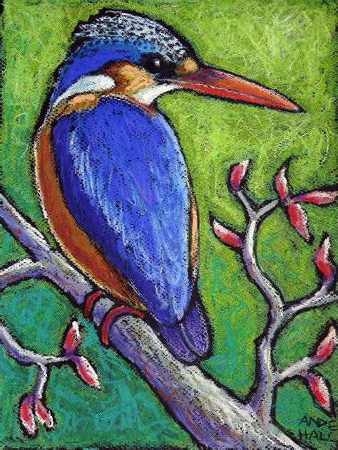 oil pastel drawings  birds  original bird painting
