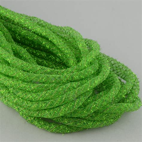 tinsel flex tubing ribbon metallic lime green 20 yards