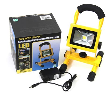 battery led work light power tech mighty mite portable led battery powered work light