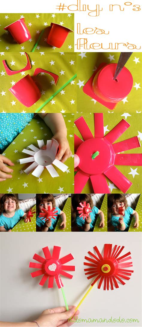 fleur en pot de yaourt 3 diy faciles et rapides pour les enfants avec des pots de yaourt allo maman dodo