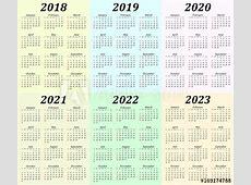 Six year calendar 2018, 2019, 2020, 2021, 2022 and 2023