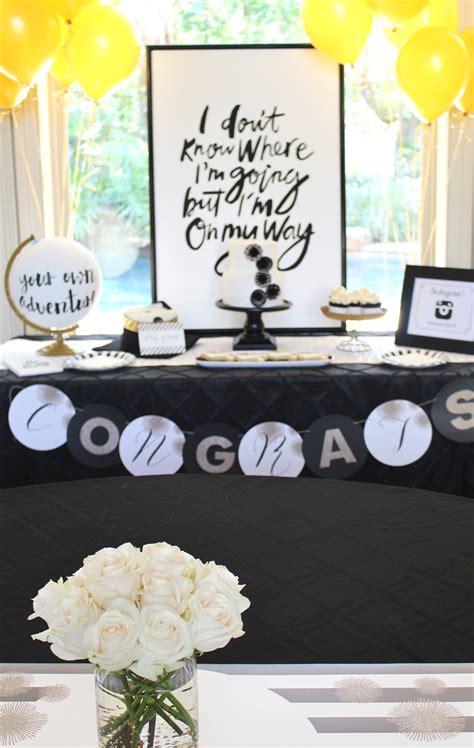 stylish black white gold graduation party pizzazzerie