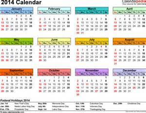 Printable 2014 Calendar Template