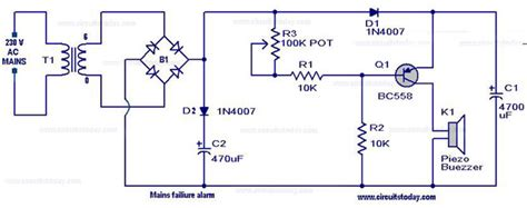Mains Power Supply Failure Alarm Circuit Outage