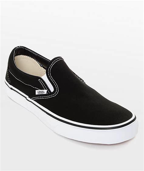 Vans Classic Slip On Black & White Shoes | Zumiez