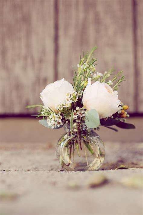 Flowers In Small Vases by Country Pastel Wedding Inspiration From